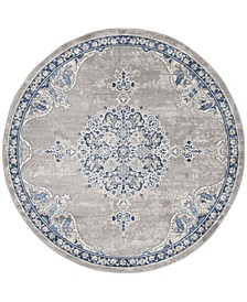 """Brentwood Light Gray and Blue 6'7"""" x 6'7"""" Round Area Rug"""