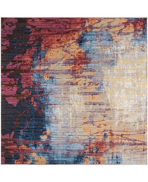 Safavieh Bristol Blue and Rust 7' x 7' Square Area Rug