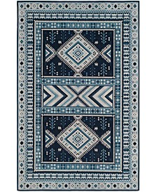 Classic Vintage Navy and Light Blue 5' x 8' Area Rug