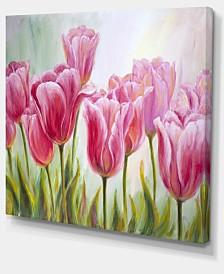 "Designart Tulips In A Row Floral Art Canvas Print - 40"" X 30"""