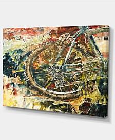 "Designart Mountain Bike Oil Painting Abstract Canvas Artwork - 32"" X 16"""