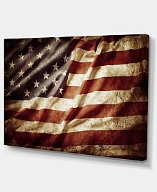"Designart American Flag Contemporary Canvas Art Print - 32"" X 16"""