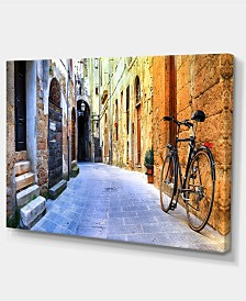 """Designart Pictorial Street Of Old Italy Cityscape Canvas Art Print - 32"""" X 16"""""""