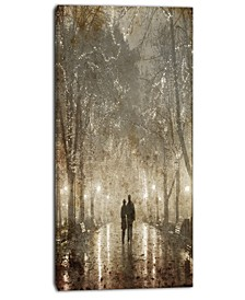 "Designart Couple Walking In Night Lights Photography Canvas Print - 16"" X 32"""