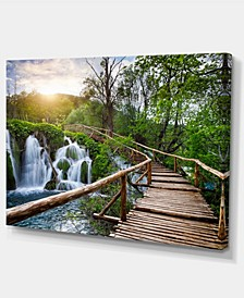 "Designart Pathway In Plitvice Lakes Photography Canvas Art Print - 32"" X 16"""
