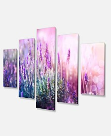 "Designart Growing And Blooming Lavender Canvas Art Print - 60"" X 32"" - 5 Panels"