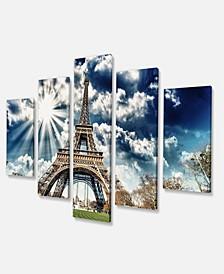 """Designart Magnificent Paris Eiffel Towerview Skyline Photography Canvas Art - 60"""" X 32"""" - 5 Panels"""