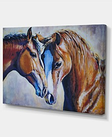 "Designart Brown Amorous Horses Large Animal Art Canvas Print - 32"" X 16"""