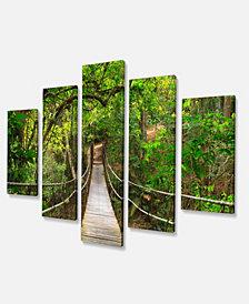 "Designart Bridge To Jungle Thailand Photo Canvas Art Print - 60"" X 32"" - 5 Panels"
