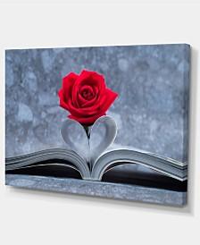 "Designart Red Rose Inside The Book Large Floral Art Canvas Print - 32"" X 16"""