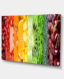 "Designart Fruits Berries And Vegie Collage Art Canvas Print - 32"" X 16"""