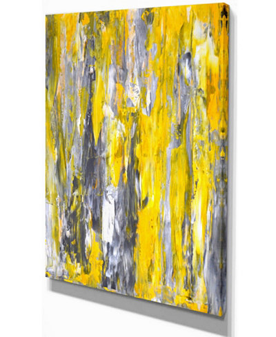 Designart Grey And Yellow Abstract Pattern Abstract Canvas Print - 12