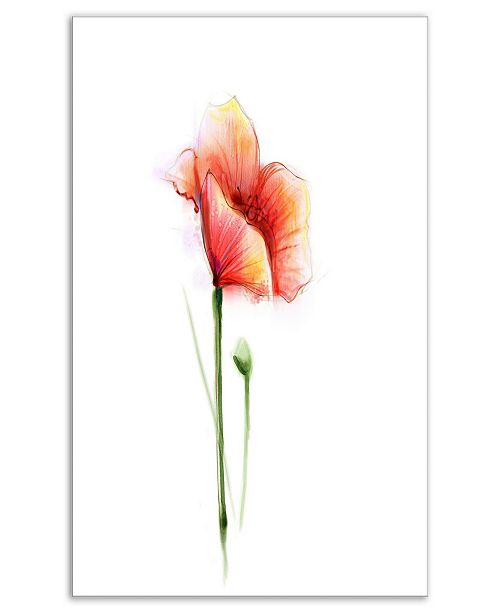 "Design Art Designart Red Poppy Flower With Large Petals Large Flower Canvas Wall Art - 12"" X 20"""