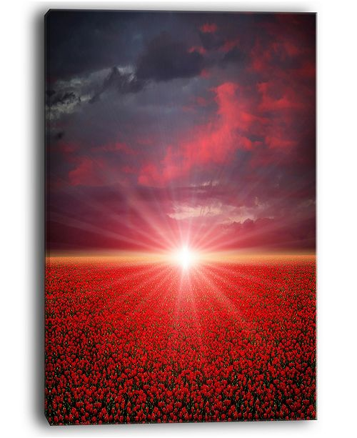 "Design Art Designart Red Poppies Field At Sunset Modern Landscape Wall Art Canvas - 30"" X 40"""