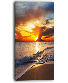 "Designart Yellow Sunset Over Gloomy Beach Modern Beach Canvas Art Print - 16"" X 32"""