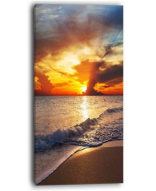 "Design Art Designart Yellow Sunset Over Gloomy Beach Modern Beach Canvas Art Print - 16"" X 32"""