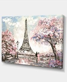"Designart Eiffel With Pink Flowers Landscape Canvas Art Print - 32"" X 16"""