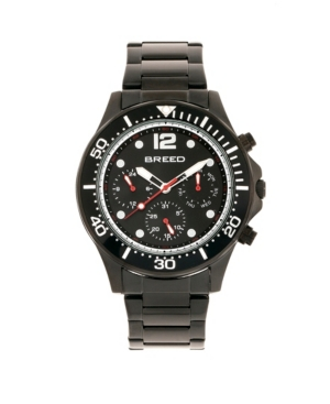 Breed Quartz Pegasus Black Face Multi-Function Black Alloy Watch 46mm