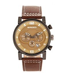 Quartz Ryker Camel Face Chronograph Genuine Brown Leather Watch 45mm