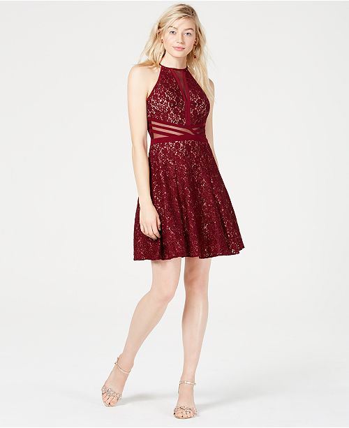 Morgan & Company Juniors' Sequined Lace Fit & Flare Dress