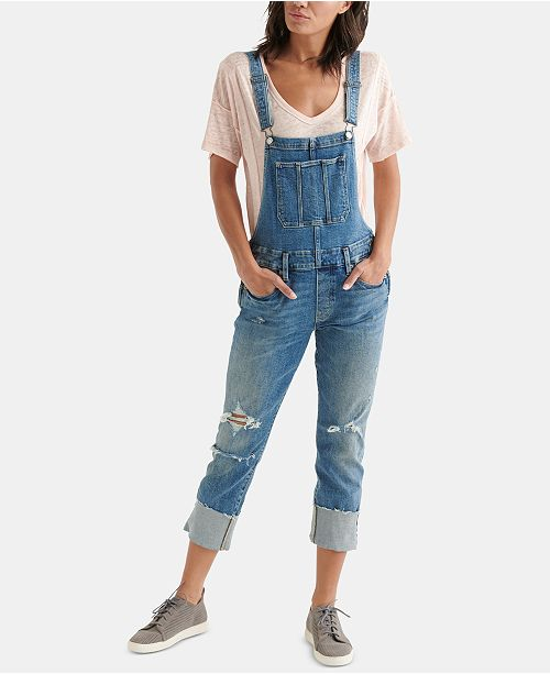 9089648eb5 Lucky Brand The BF Cuffed Ripped Overalls   Reviews - Pants ...