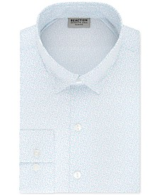 Men's Techni-Cole Slim-Fit Three-Way Stretch Non-Iron Blue Print Dress Shirt