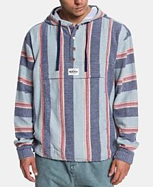 Quiksilver Men's Neo Blue Stripe Flannel Hoodie