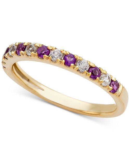 Macy's Amethyst (1/5 ct. t.w.) and Diamond (1/6 ct. t.w.) Ring in 14k Gold