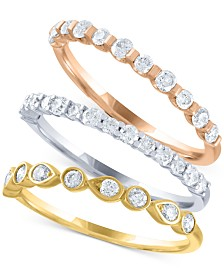 Tri-Color 3-Pc. Diamond (1 ct. t.w.) Stackable Ring Set
