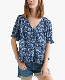 Lucky Brand Floral-Print V-Neck Ruffle Top