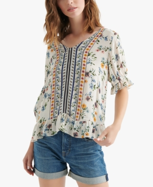 Lucky Brand Tops BORDER-PRINT V-NECK RUFFLE TOP