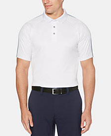 PGA TOUR Men's Performance Stretch Moisture-Wicking Birdseye-Print Raglan-Sleeve Golf Polo
