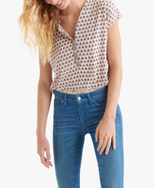 Lucky Brand Tops PRINTED CAP-SLEEVE TOP