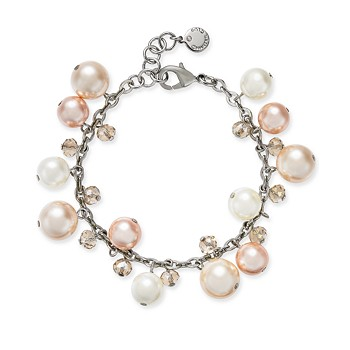 Charter Club Silver-Tone Pink Imitation Pearl Link Bracelet
