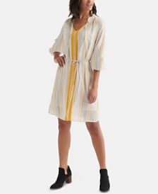Lucky Brand Striped V-Neck Peasant Dress