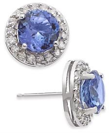 Tanzanite (3 ct. t.w.) & Diamond (3/8 ct. t.w.) Stud Earrings in 14k White Gold