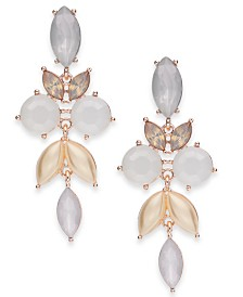 I.N.C. Rose Gold-Tone Crystal & Stone Drop Earrings, Created for Macy's