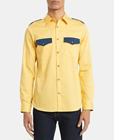 Calvin Klein Men's Slim-Fit Colorblocked Sateen Utility Shirt
