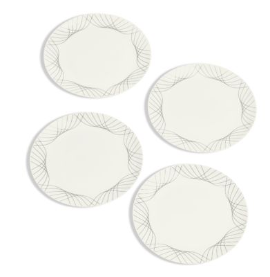 Black Line Swoop Decal Salad Plates Set/4, Created for Macy's