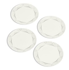 Hotel Collection Black Line Swoop Decal Salad Plates Set/4, Created for Macy's