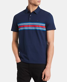 Calvin Klein Men's Slim-Fit Engineered Stripe Polo Shirt