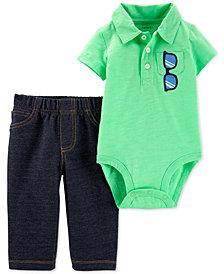 Carter's Baby Boys 2-Pc. Polo Cotton Bodysuit & Denim Jeans Set