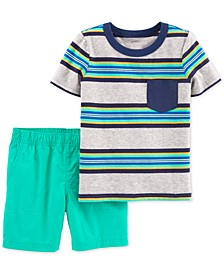 Baby Boys 2-Pc. Stripe Cotton T-Shirt & Shorts Set