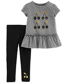 Carter's Baby Girls 2-Pc. Cherry-Print Peplum Tunic & Leggings Set