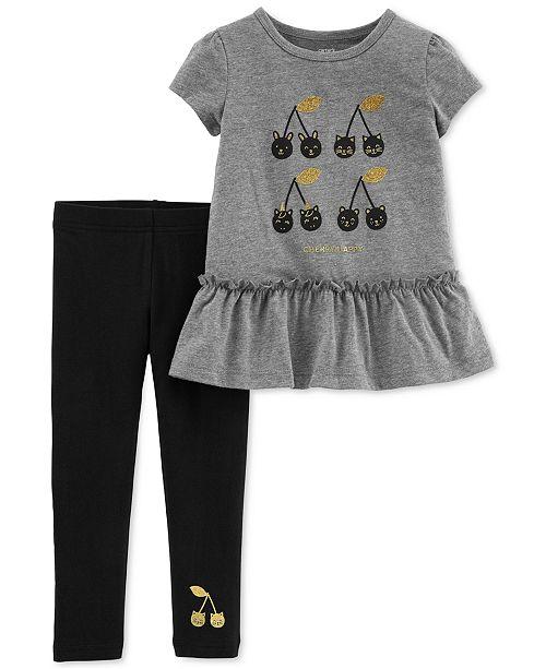 Carter's Baby Girls 2-Pc. Cherry-Print Peplum Tunic & Leggings Set