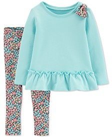 Carter's Baby Girls 2-Pc. Cotton Peplum Tunic & Floral-Print Tunic