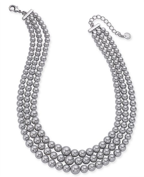 """Charter Club Silver-Tone Imitation Pearl Triple-Row Choker Necklace, 16"""" + 2"""" extender, Created for Macy's"""