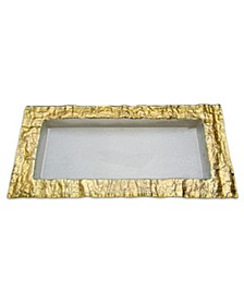 Rectangular Glass Tray With Gold Embossed Border