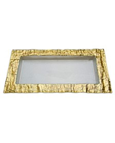 Classic Touch Rectangular Glass Tray With Gold Embossed Border