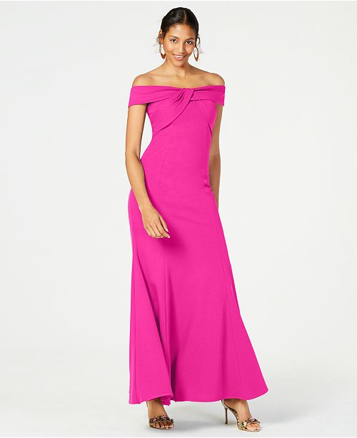 Nightway Twisted Off-The-Shoulder Gown
